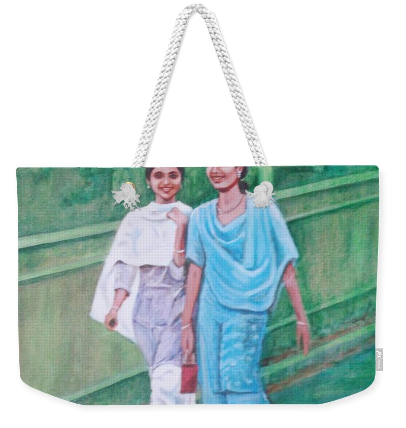 Weekender Tote Bag featuring the painting Laughing Girls by Usha Shantharam