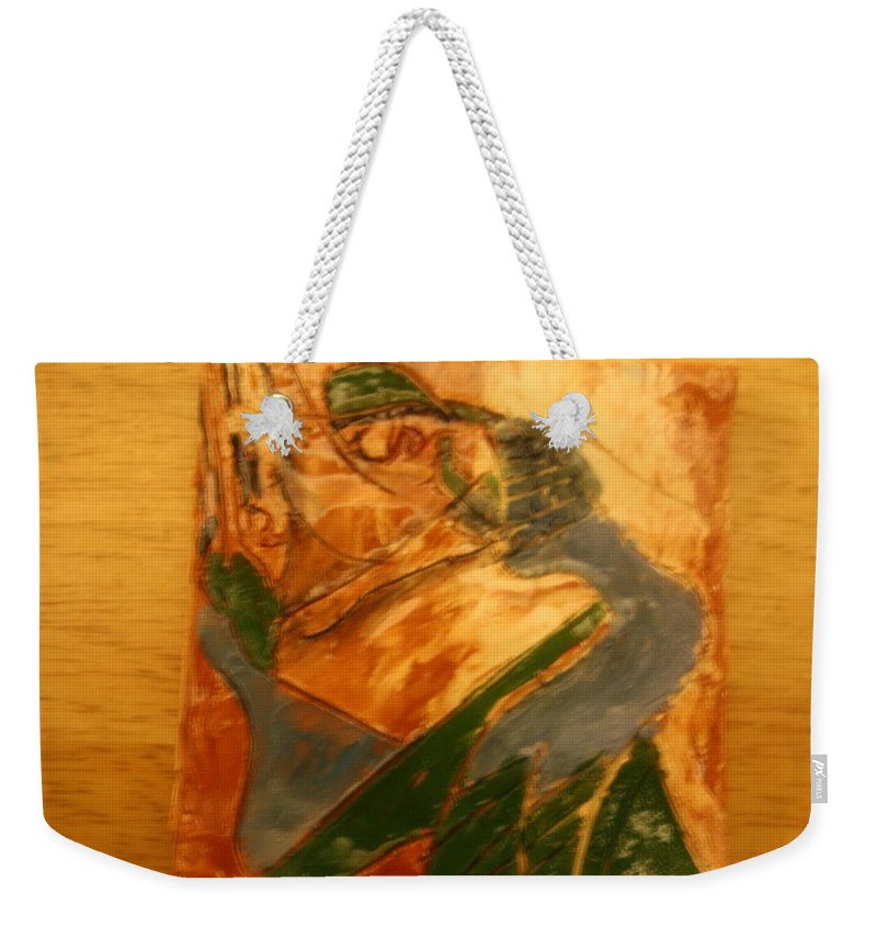 Jesus Weekender Tote Bag featuring the ceramic art Laughter - Tile by Gloria Ssali