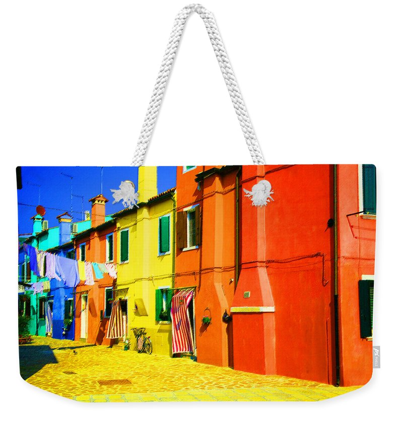 Burano Weekender Tote Bag featuring the photograph Laundry Between Chimneys by Donna Corless