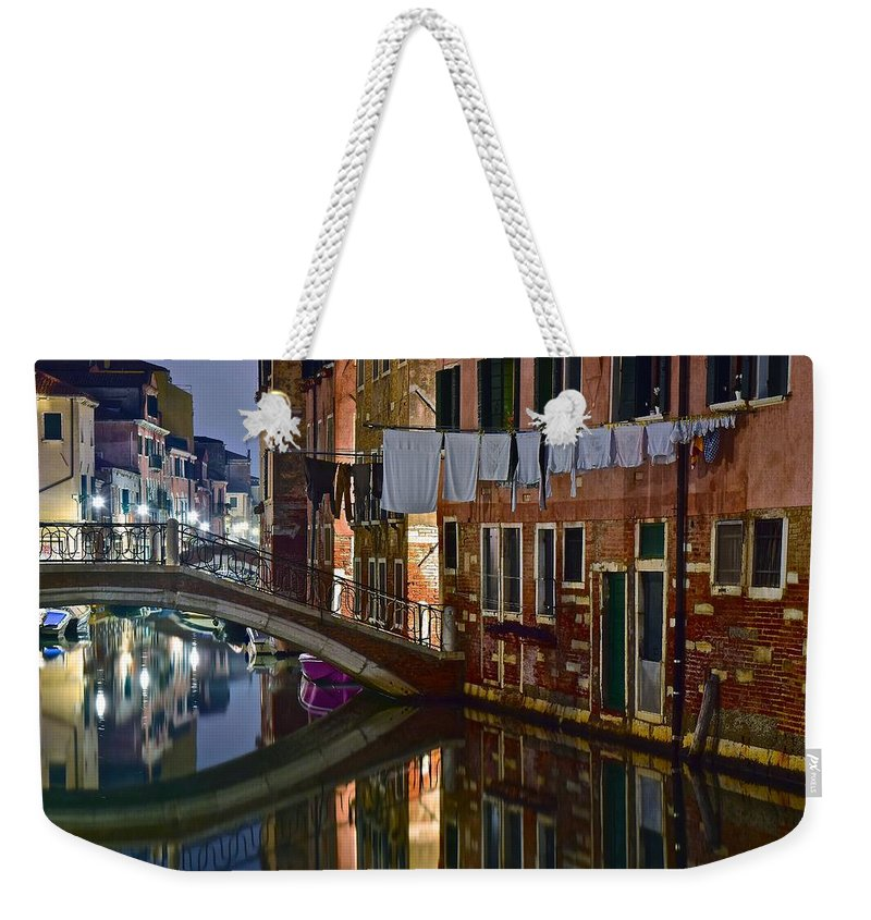 Venice Weekender Tote Bag featuring the photograph Laundry Night by Frozen in Time Fine Art Photography