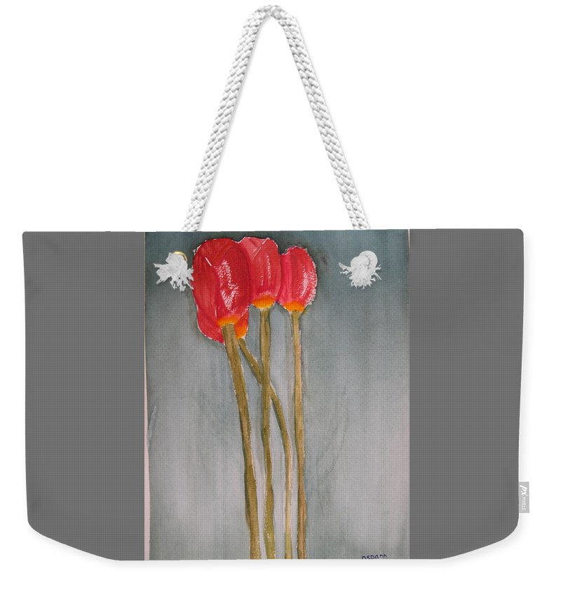 Tulip Flower Bouquet Weekender Tote Bag featuring the painting Laura by Patricia Caldwell