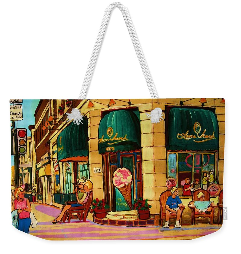 Montreal Streetscenes Weekender Tote Bag featuring the painting Laura Secord Candy And Cone Shop by Carole Spandau