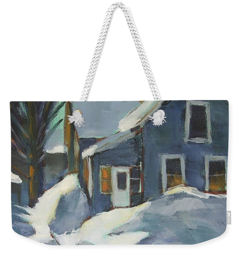 Oil Weekender Tote Bag featuring the painting Laura's House by Mary McInnis