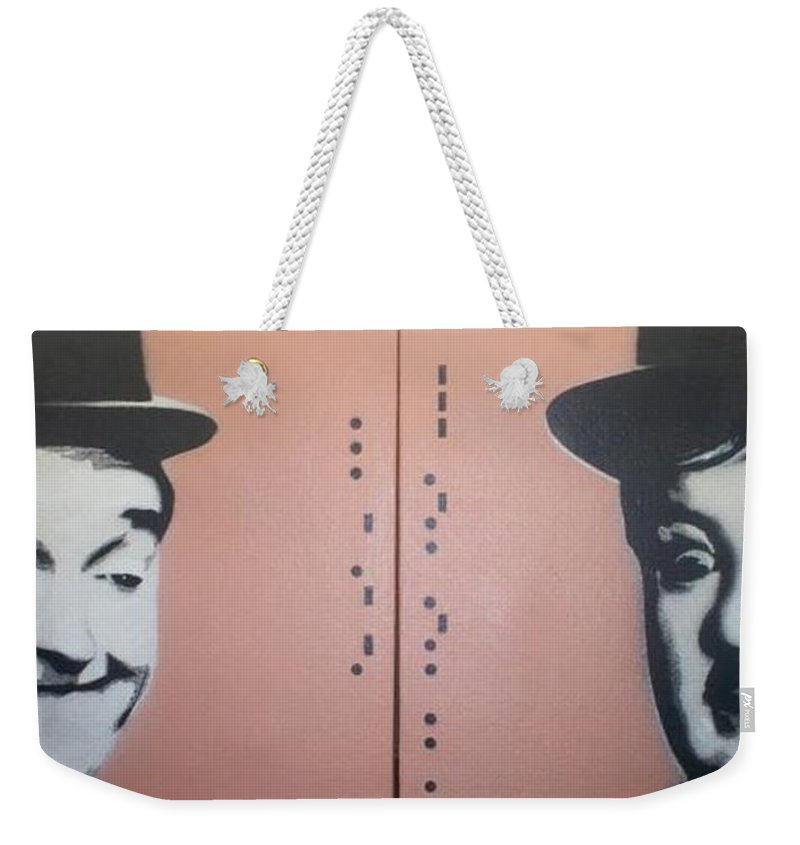 Laurel And Hardy Weekender Tote Bag featuring the painting Laurel And Hardy by Gary Hogben