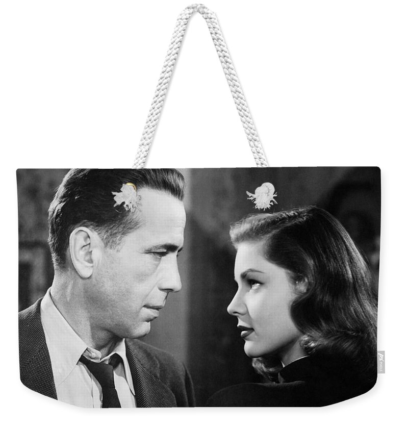 Lauren Bacall Humphrey Bogart Film Noir Classic The Big Sleep 2 1945 Weekender Tote Bag featuring the photograph Lauren Bacall Humphrey Bogart Film Noir Classic The Big Sleep 2 1945-2015 by David Lee Guss