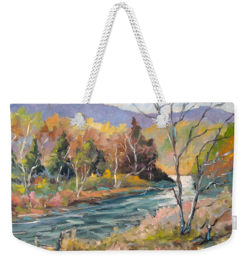 Landscape Weekender Tote Bag featuring the painting Laurentian Hills by Richard T Pranke