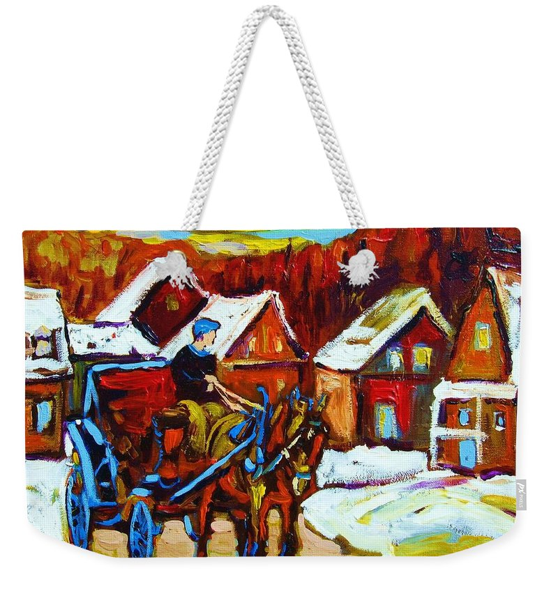 Horse And Carriage Weekender Tote Bag featuring the painting Laurentian Village Ride by Carole Spandau