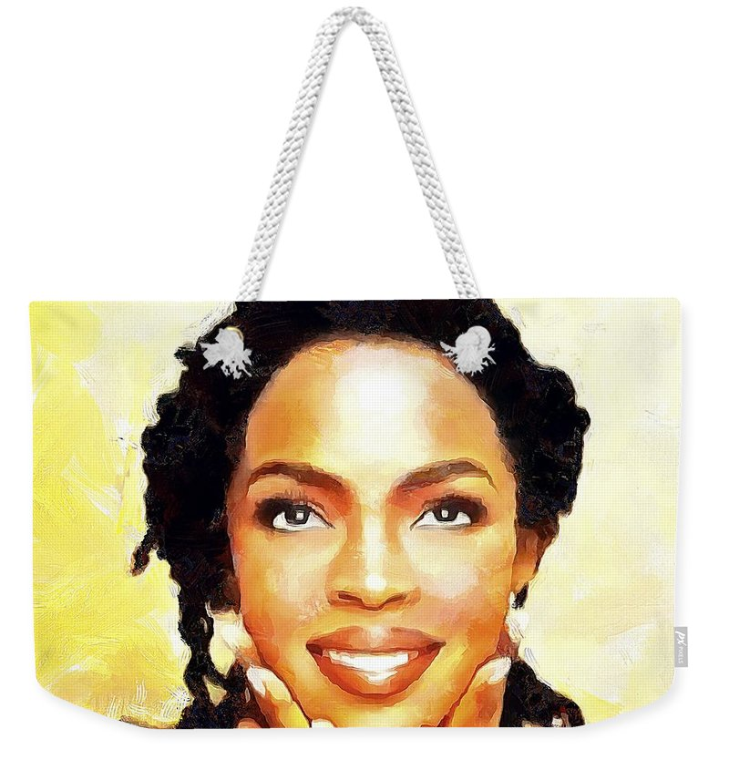 Lauryn Hill Weekender Tote Bag featuring the painting Lauryn Hill by Wayne Pascall