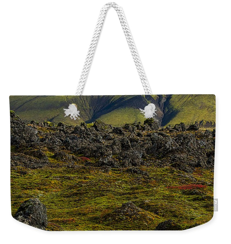 Golden Circle Weekender Tote Bag featuring the photograph Lava Field And Mountain - Iceland by Stuart Litoff