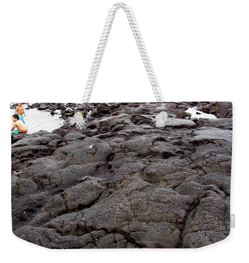 Lava Weekender Tote Bag featuring the photograph Lava Rock Island by Deborah Crew-Johnson