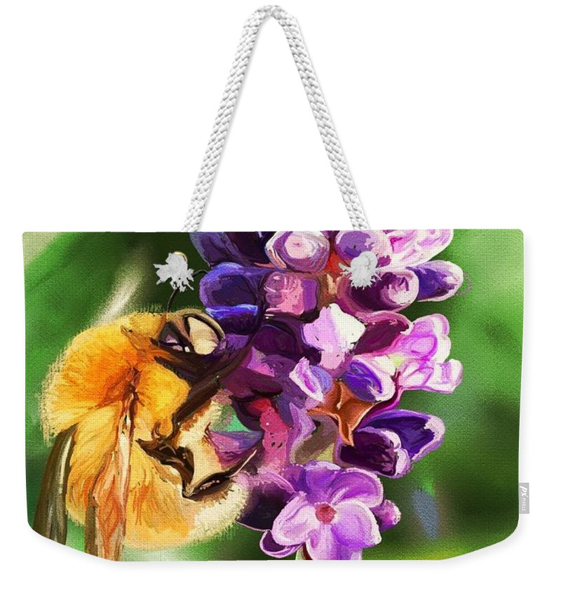 Lavender Weekender Tote Bag featuring the digital art Lavender Bee by Claire Bower