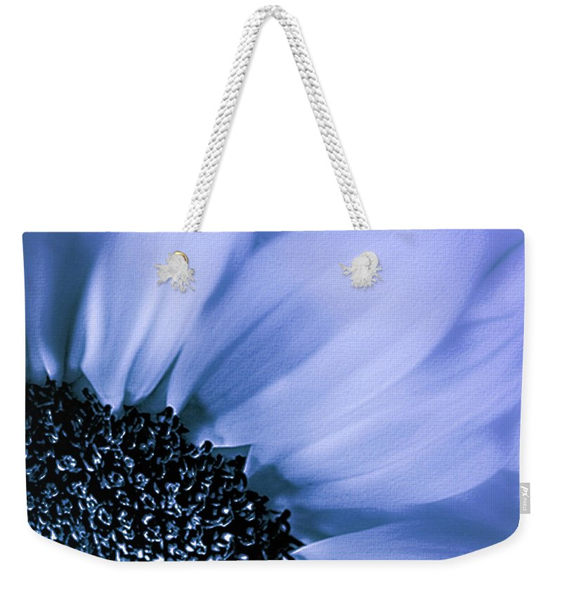 Mona Stut Weekender Tote Bag featuring the photograph Lavender Blue Silk by Mona Stut