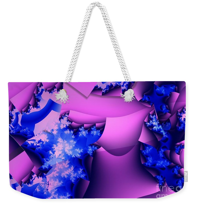Lavender Weekender Tote Bag featuring the digital art Lavender Cups by Ron Bissett