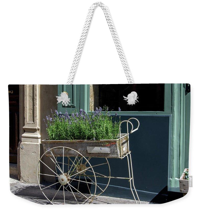 Architectural Sculpture Weekender Tote Bag featuring the digital art Lavender Flower Cart In Montmarte Paris by Carol Ailles