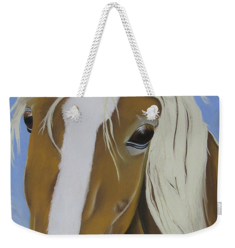 Horse Weekender Tote Bag featuring the pastel Lavender Horse by Michelle Hayden-Marsan