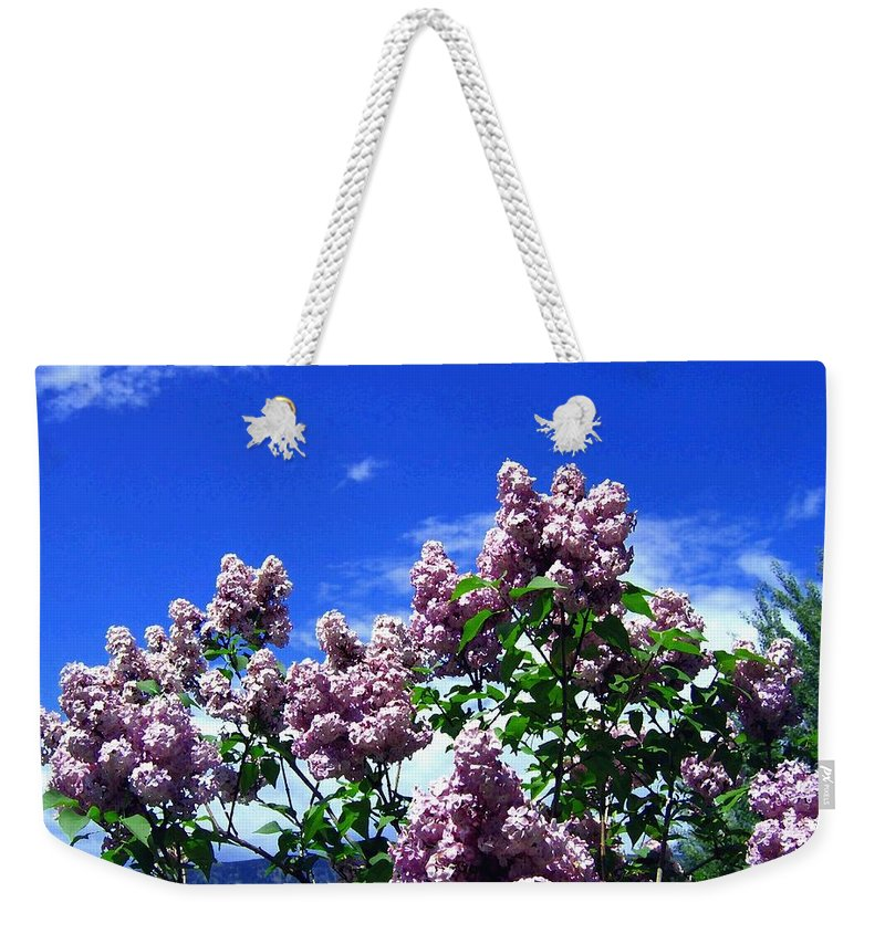 Lilacs Weekender Tote Bag featuring the photograph Lavender Lilacs by Will Borden