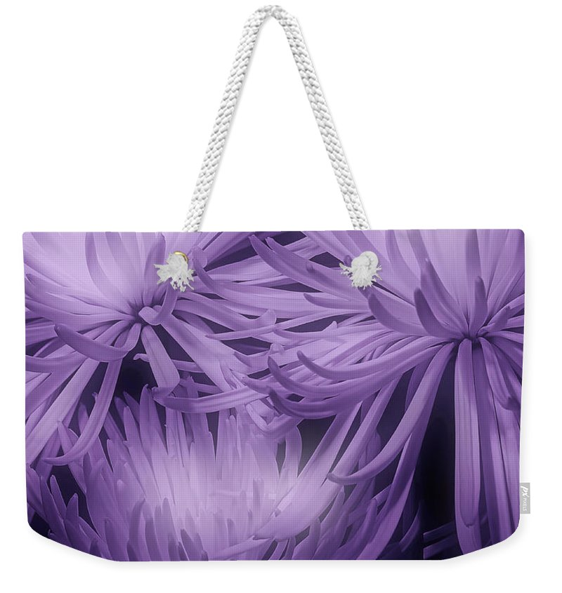 Mums Weekender Tote Bag featuring the photograph Lavender Mums by Tom Mc Nemar