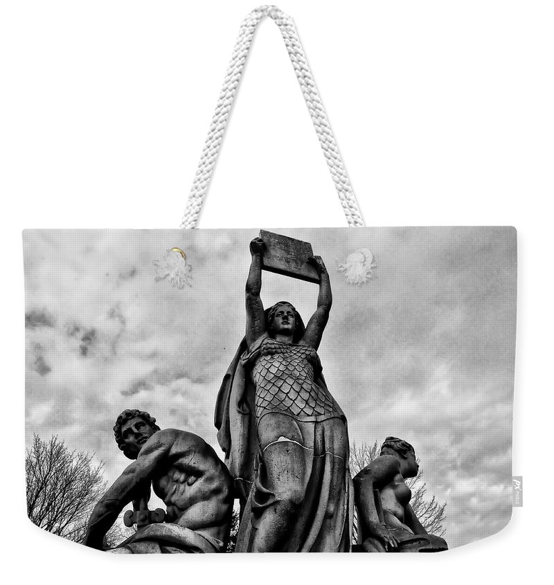 Philadelphia Weekender Tote Bag featuring the photograph Law Prosperity And Power by Bill Cannon