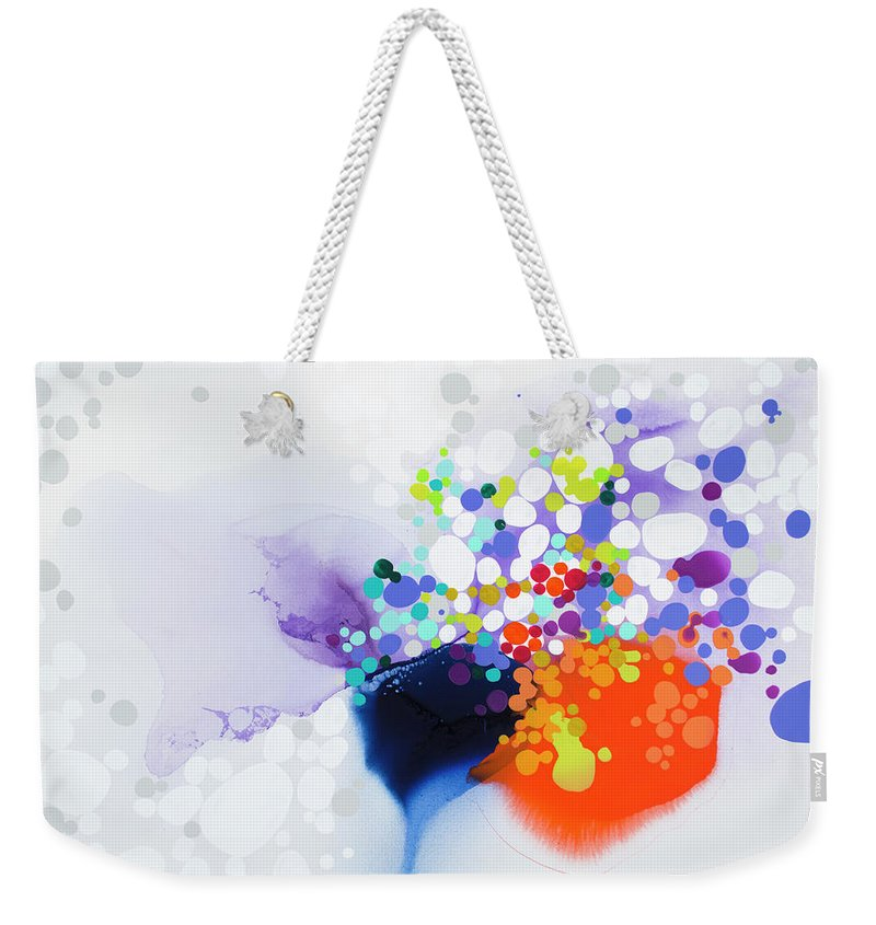 Abstract Weekender Tote Bag featuring the painting Lay The Blame by Claire Desjardins