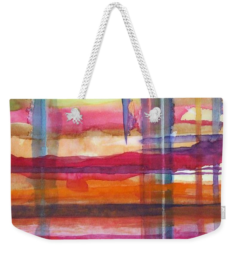 Abstract Weekender Tote Bag featuring the painting Layered by Suzanne Udell Levinger