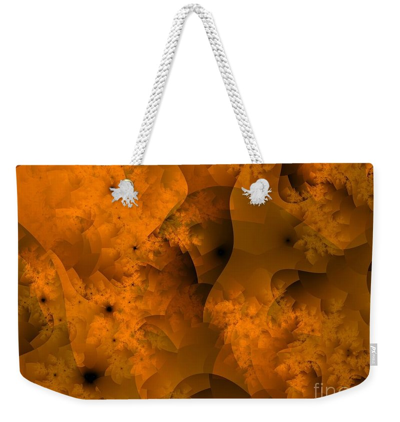 Sponge Weekender Tote Bag featuring the digital art Layers In Kelp Brown by Ron Bissett