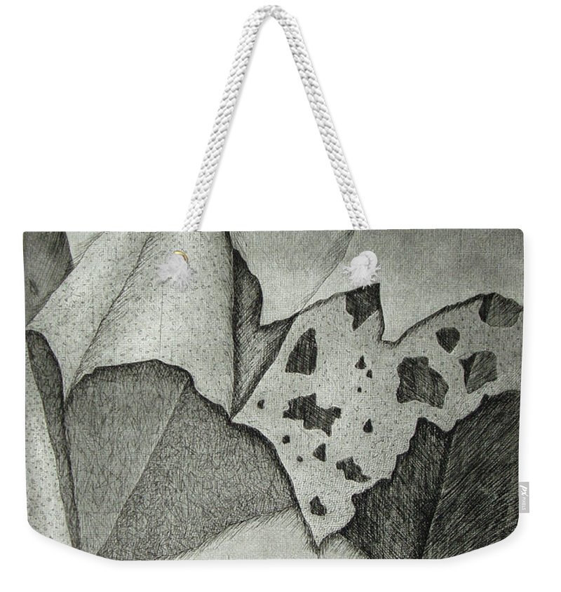 Etching Weekender Tote Bag featuring the drawing Layers by Nancy Mueller