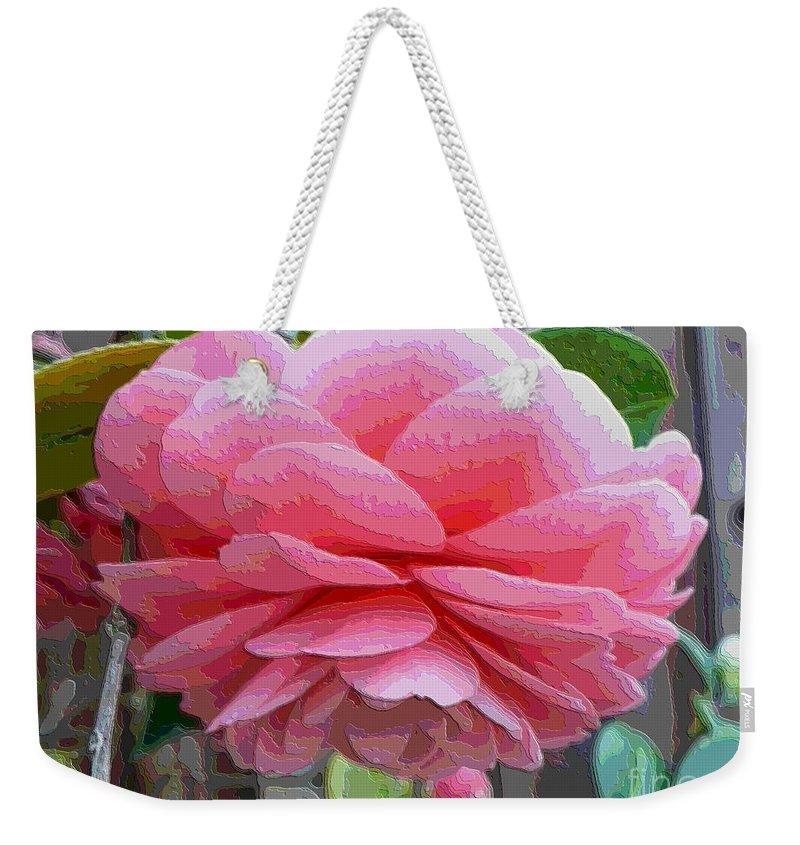 Pink Camellia Weekender Tote Bag featuring the photograph Layers Of Pink Camellia - Digital Art by Carol Groenen