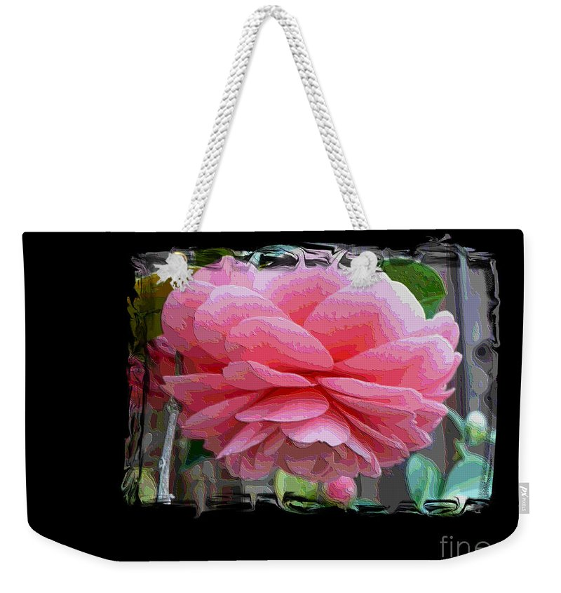 Pink Camellia Weekender Tote Bag featuring the digital art Layers Of Pink Camellia Dream by Carol Groenen