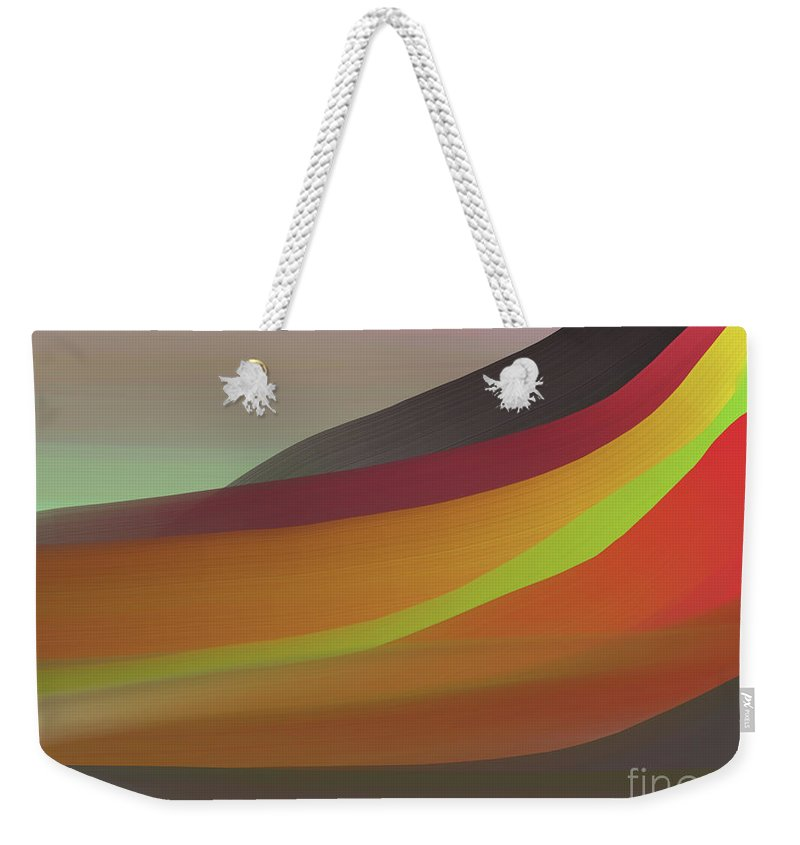 Gray Weekender Tote Bag featuring the digital art Layers Of Red, Brown, Green by Michael L McKinley