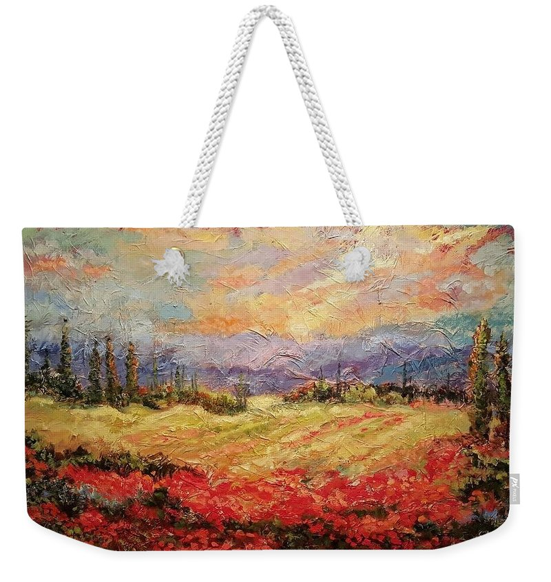 Italian Vineyards Weekender Tote Bag featuring the painting Layers of Tuscany by Ginger Concepcion