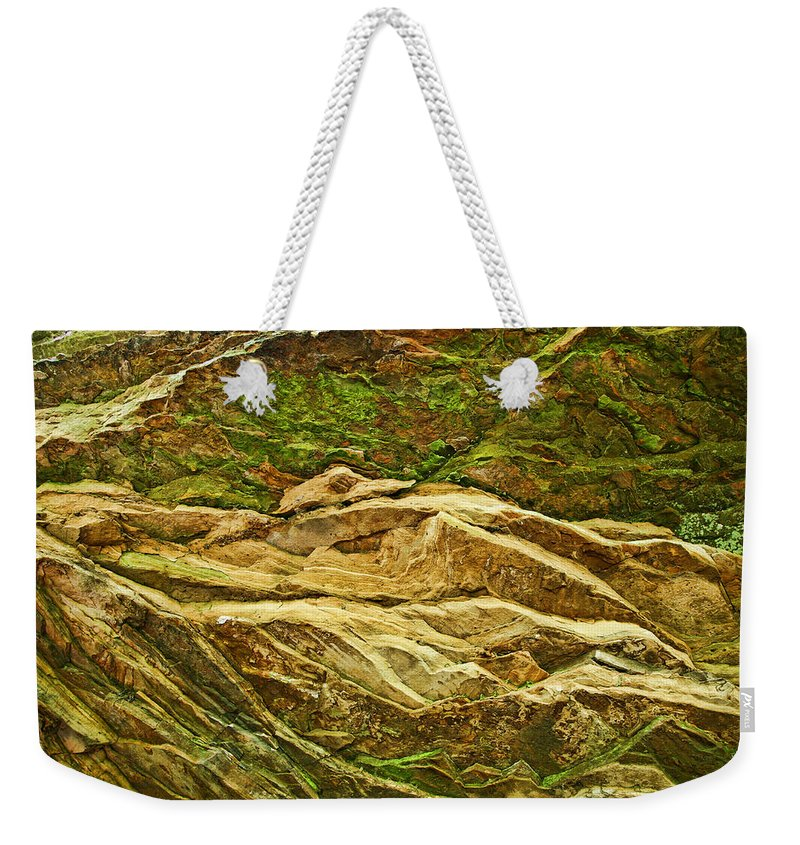 Rocks Layers Geology Moss Photography Photograph Art Digital Weekender Tote Bag featuring the photograph Layers by Shari Jardina
