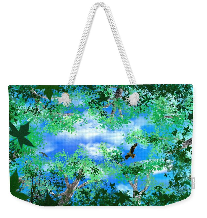 Skyscape Weekender Tote Bag featuring the digital art Laying On A Hammock by Steve Karol