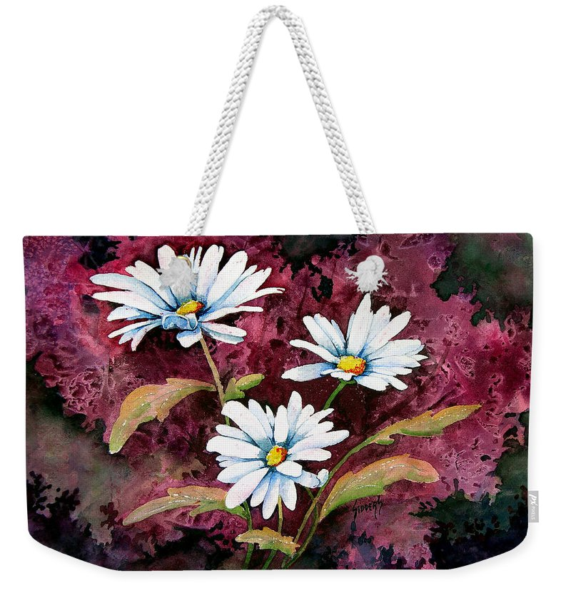 Flowers Weekender Tote Bag featuring the painting Lazy Daisies by Sam Sidders