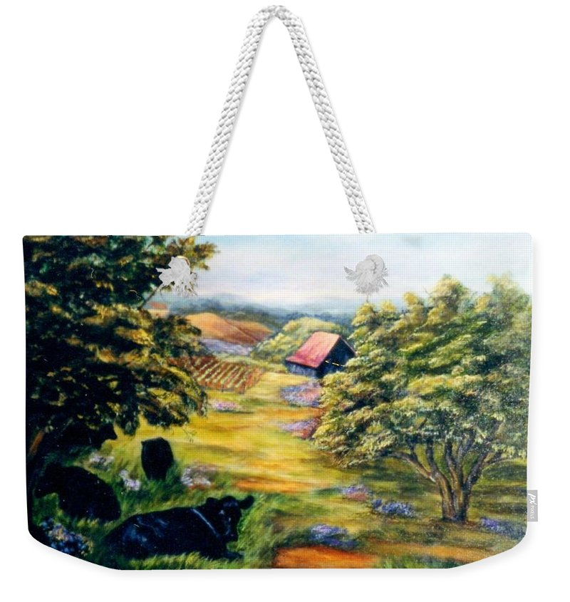 Cows Weekender Tote Bag featuring the painting Lazy Day by Gail Kirtz