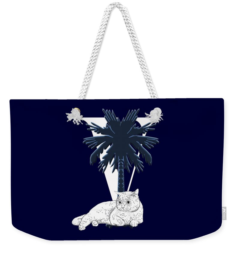 Palmetto Tree Weekender Tote Bag featuring the digital art Lazy Day V by Cynthia Leaphart