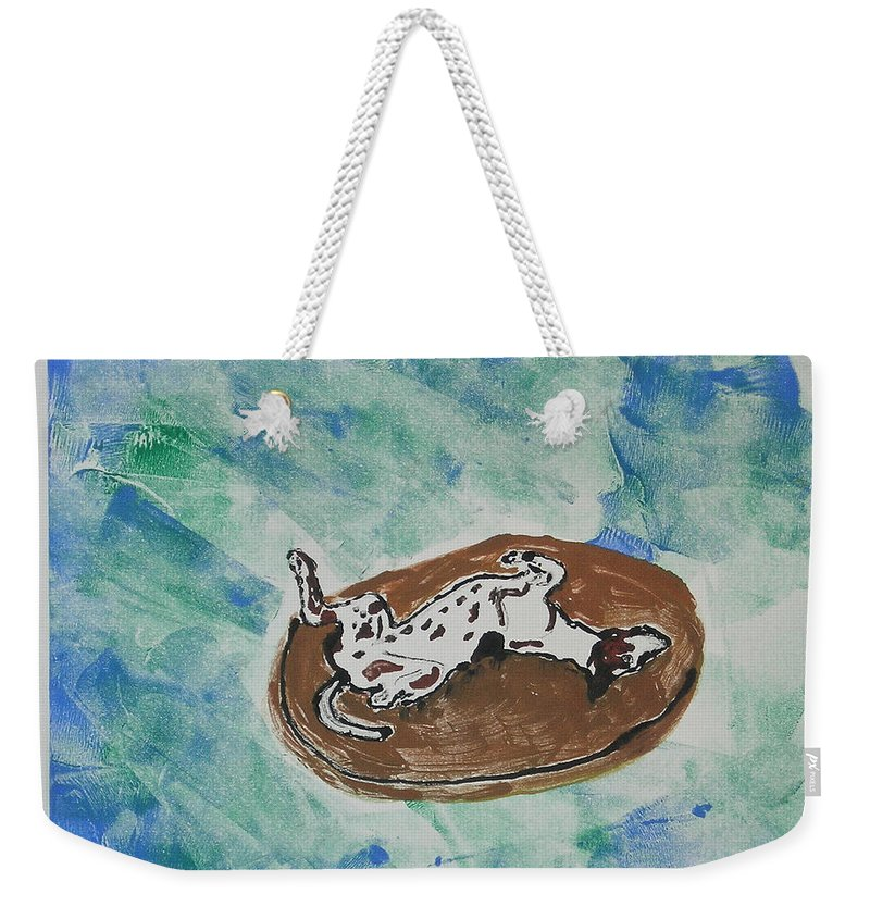 Greyhound Weekender Tote Bag featuring the mixed media Lazy Days by Cori Solomon