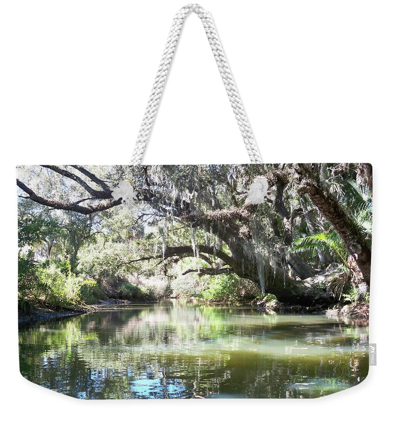 Florida Weekender Tote Bag featuring the photograph Lazy River by Chris Andruskiewicz