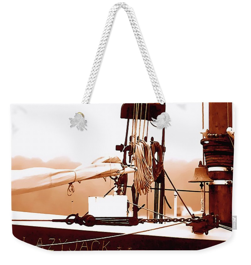 Boat Weekender Tote Bag featuring the photograph Lazyjack At Kennebunkport by Terry Fiala