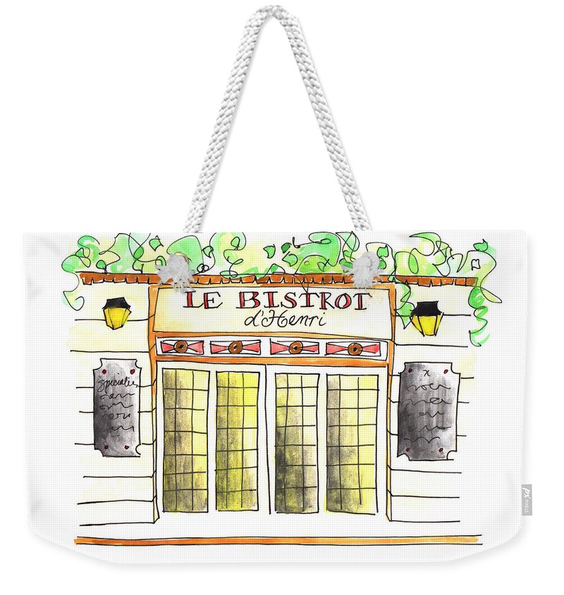Art Weekender Tote Bag featuring the painting Le Bistrot Henri by Anna Elkins
