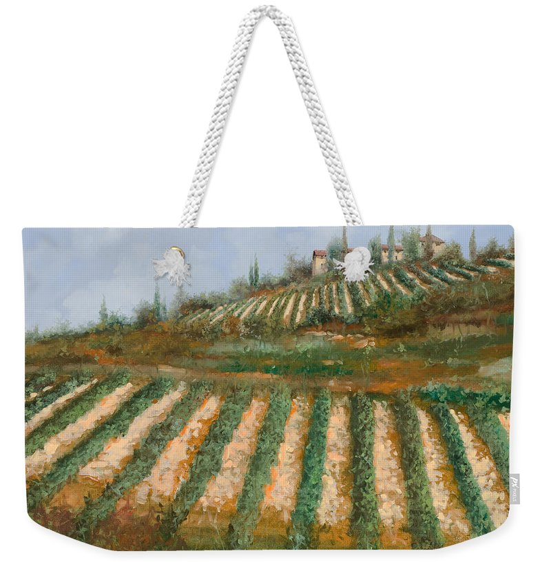 Vineyard Weekender Tote Bag featuring the painting Le Case Nella Vigna by Guido Borelli