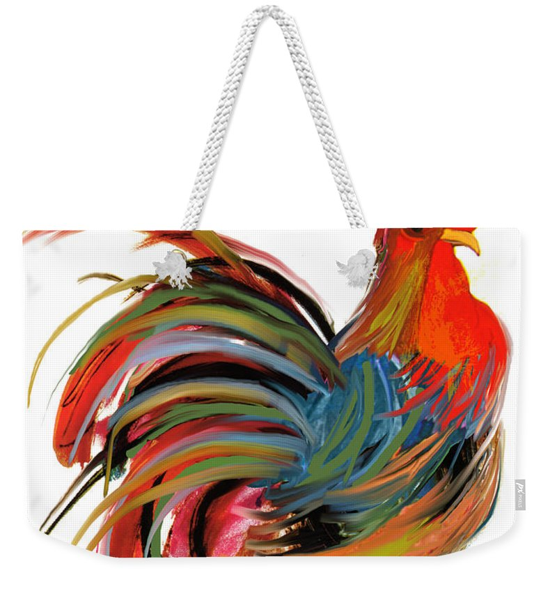 Rooster Weekender Tote Bag featuring the painting Le Coq Art Nouveau Rooster by Mindy Sommers