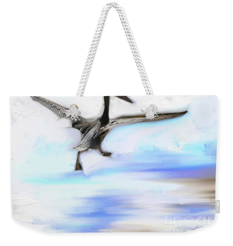 Impressionism Weekender Tote Bag featuring the photograph Le Decollage De Mon Pelican by Aline Halle-Gilbert