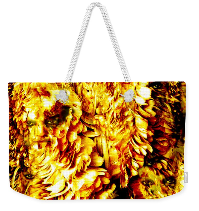 Feathers Weekender Tote Bag featuring the digital art Le Flock by Seth Weaver