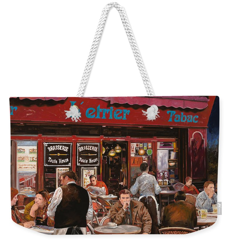 Brasserie Weekender Tote Bag featuring the painting Le Mani In Bocca by Guido Borelli