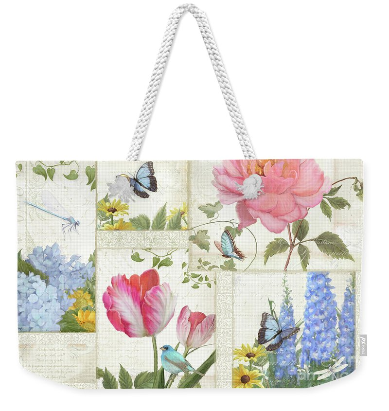 Collage Weekender Tote Bag featuring the painting Le Petit Jardin - Collage Garden Floral W Butterflies, Dragonflies And Birds by Audrey Jeanne Roberts