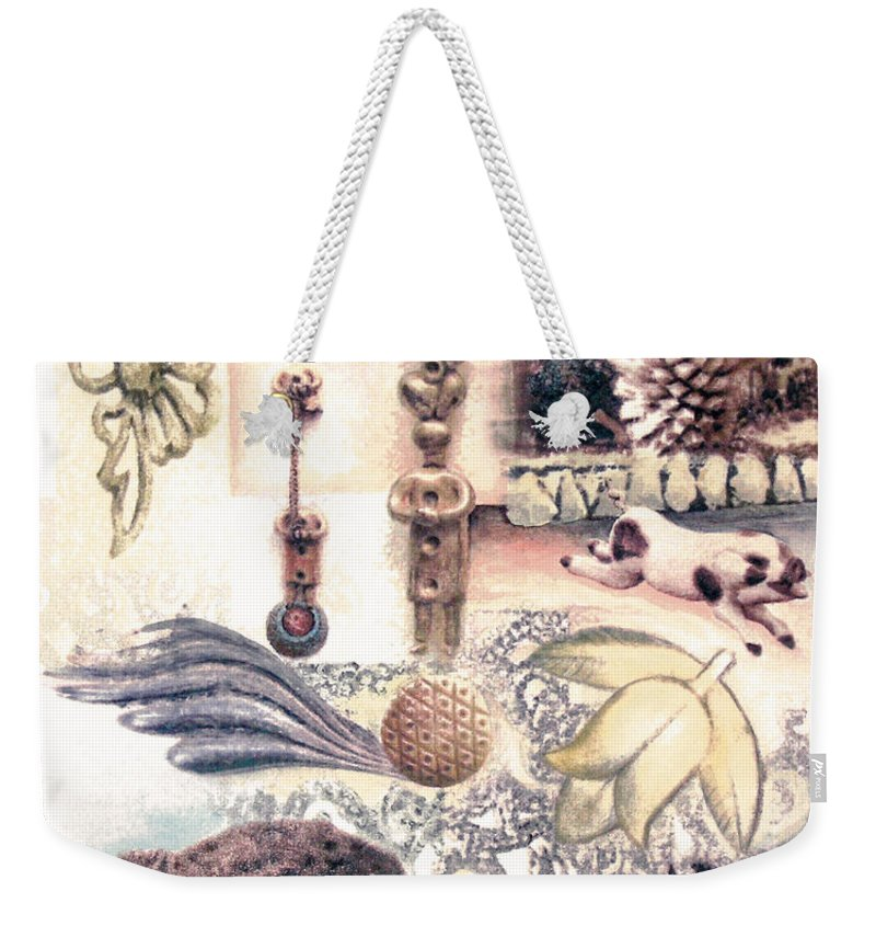 Abstract Weekender Tote Bag featuring the painting Le Petite Pig Does Fly by Valerie Meotti