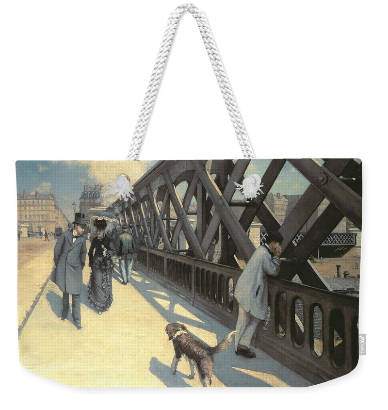 Urban Weekender Tote Bag featuring the painting Le Pont De L'europe by Gustave Caillebotte