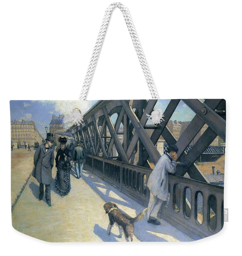 Gustave Caillebotte's Weekender Tote Bag featuring the painting Le Pont De by MotionAge Designs