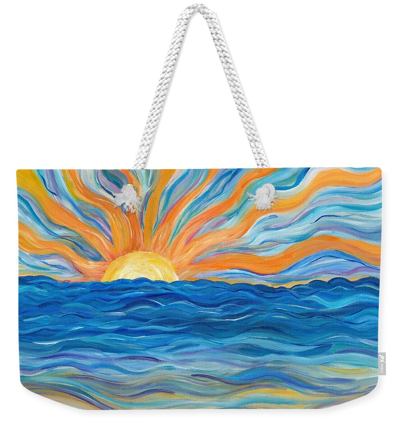 Sunrise Weekender Tote Bag featuring the painting Le Soleil by Bev Veals