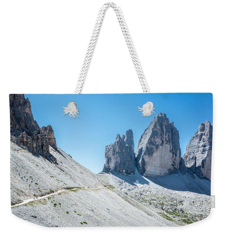 Belluno Weekender Tote Bag featuring the photograph Le Tre Cime Di Lavaredo by Alfio Finocchiaro